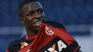 Vinicius, en un partido con el Flamengo