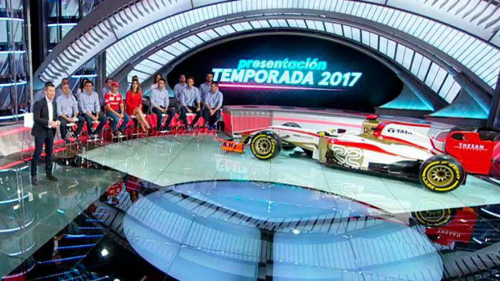 El equipo de Movistar+ F1, durante la presentación de hoy en Tres...