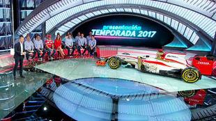 El equipo de Movistar+ F1, durante la presentaci�n de hoy en Tres...