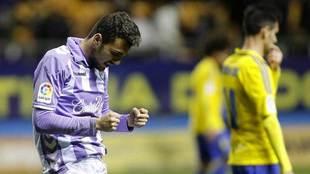 Jordan celebra el gol del triunfo en  Cádiz en la presente temporada