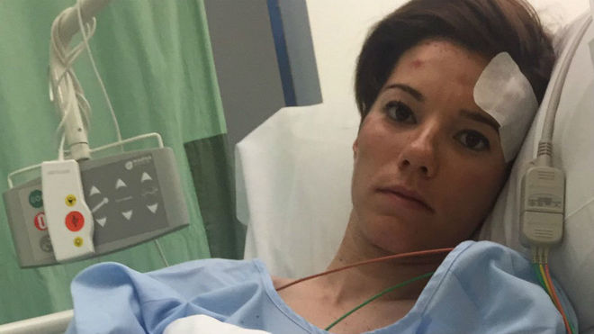Ane Santesteban, en el hospital tras su accidente