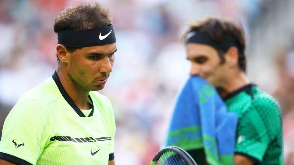 Federer y Nadal, durante su partido en el actual torneo de Indian...