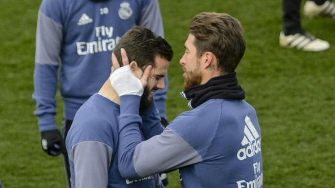 Ramos y Nacho en Valdebebas durante un entrenamiento