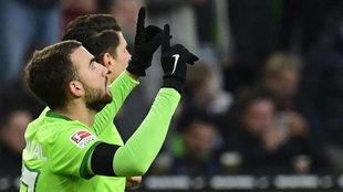 Borja Mayoral celebra un gol con el Wolfsburgo