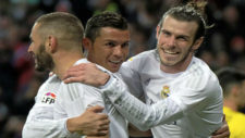 Benzema, Cristiano y Bale celebran un gol