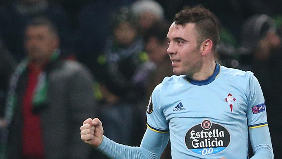 Iago Aspas celebrando su gol frente al Krasnodar.