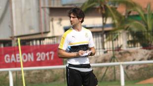 Gerard Nus durante un entrenamiento en Ghana