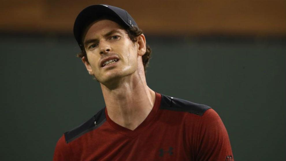 Andy Murray, durante su partido de segunda ronda en Indian Wells ante...