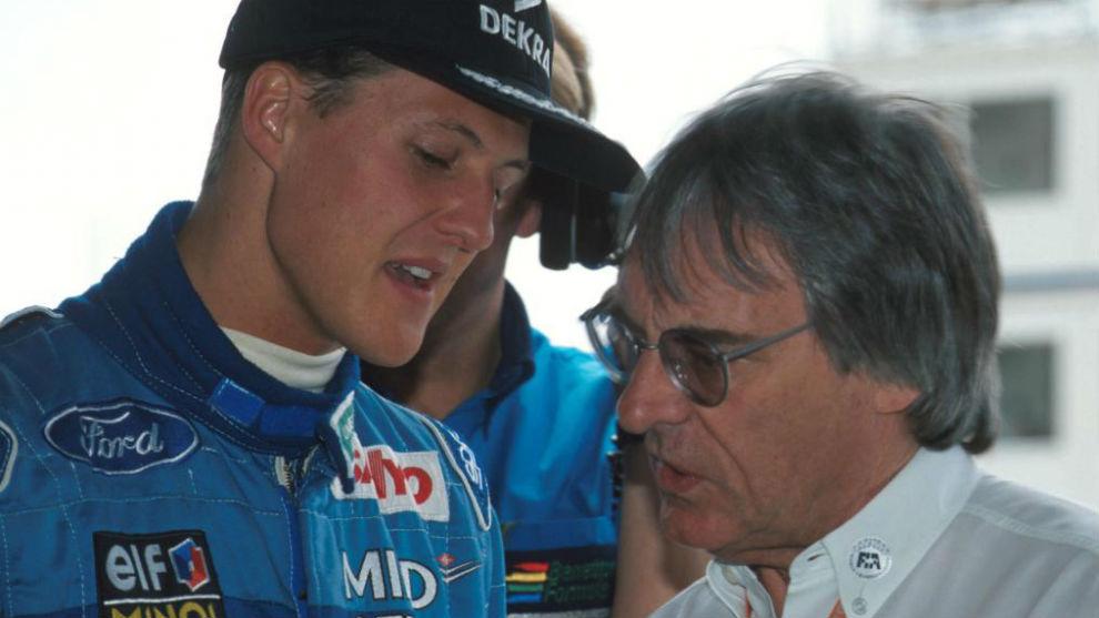 Michael Schumarcher y Bernie Ecllestone, en una imagen de 1994.