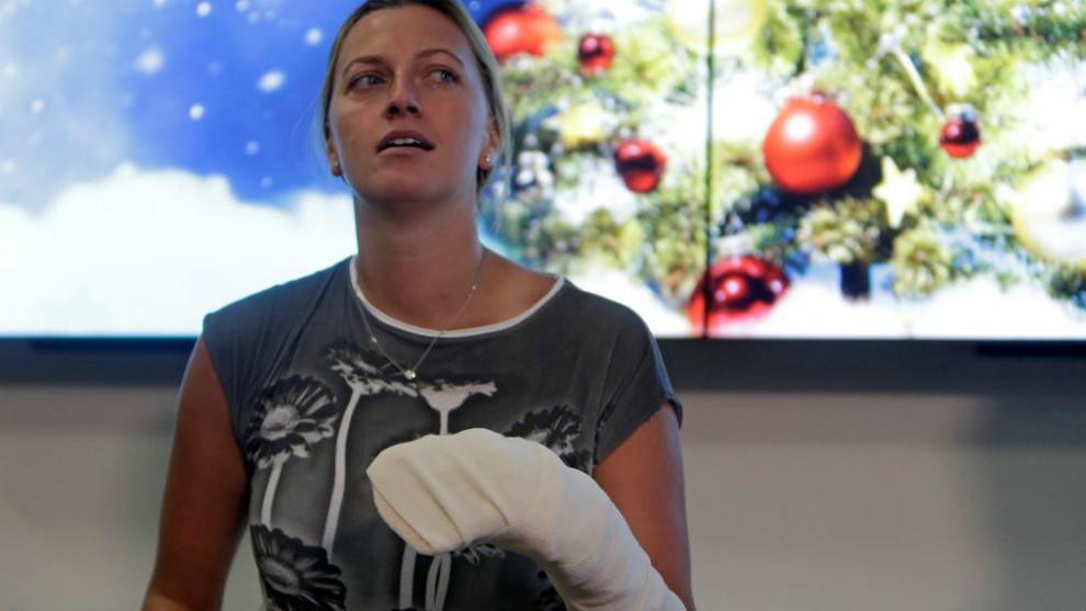 Kvitova, durante una conferencia de prensa tras sufrir la agresión