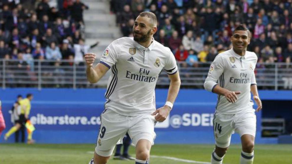 Karim Benzema celebra un gol esta temporada