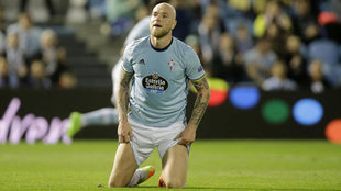 Guidetti en un partido de la Europa League.