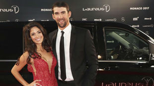 Michael Phelps, junto a su mujer, en la entrega de los Premios Laureus...