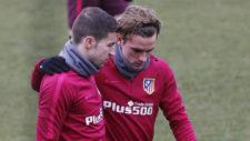 Griezmann y Gabi en un entrenamiento.