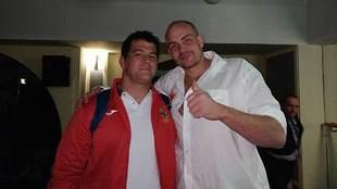 Jesús Moreno, tras el partido junto al belga Thomas Vervoort, al que...