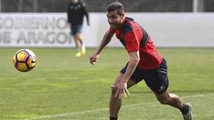 Alexander González, durante un entrenamiento reciente en Huesca