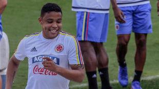 Muriel, en el entrenamiento de Colombia.