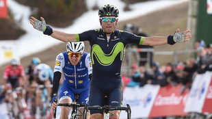 Así celebró Valverde su triunfo en La Molina