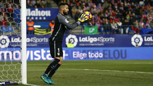 Moyá durante un partido con el Atlético