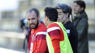 Ramis, durante un entrenamiento con el Eibar