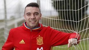 El jugador en un entrenamiento de la Selección Española.