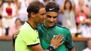 Nadal y Federer en la final de Indian Wells.