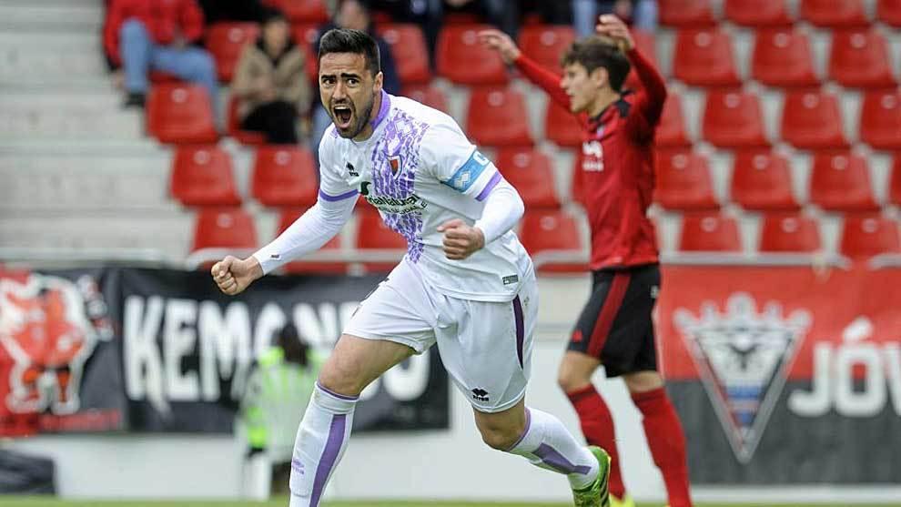 Regalón celebra un gol con el Numancia en Anduva la pasada temporada