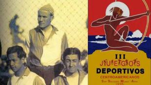 Alfred C. Crowle (arriba) y el cartel de los Juegos centroamericanos...