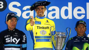 Alberto Contador en la edición anterior de la Vuelta al País Vasco.