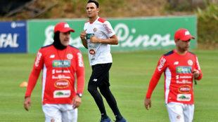 Keylor, durante un entrenamiento con Costa Rica