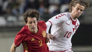 Odrizola, durante el partido de la Sub 21 contra Dinamarca.