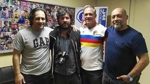Omar Hasan, Diego Cuesta Silva y Diego Cash junto al cineasta Laureano...