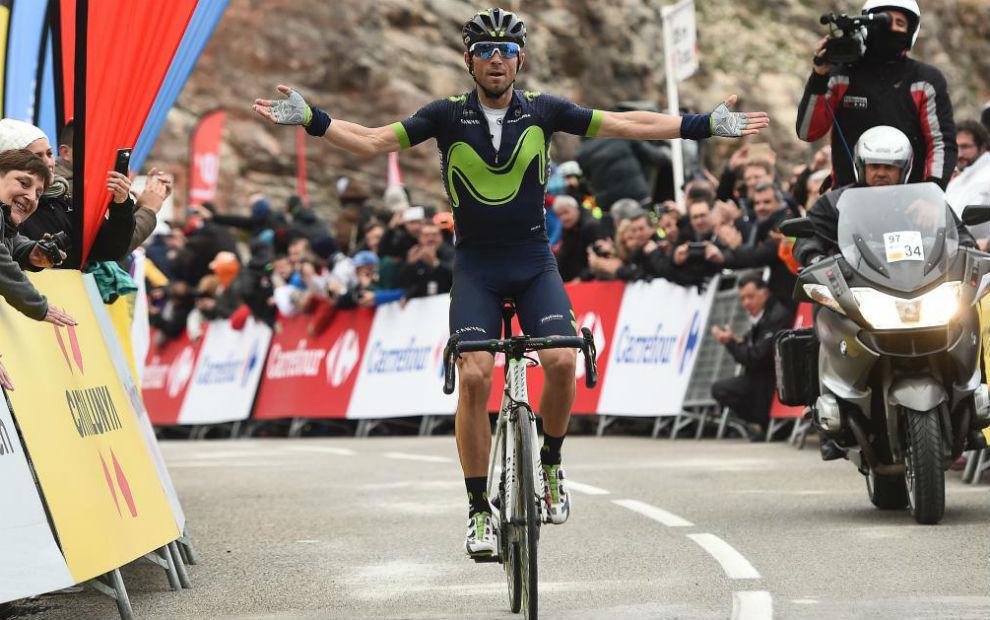Alejandro Valverde celebrando su triunfo en la etapa reina.