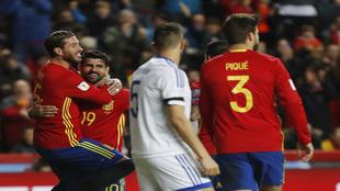 La Selección Española celebrando uno de los goles ante Israel