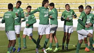 Entrenamiento de los jugadores de la selección de Bolivia.