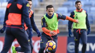 Entrenamiento de los jugadores de Las Palmas en Valdebebas.