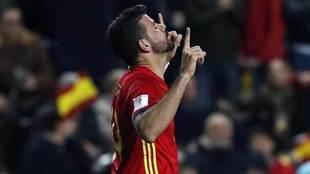 Diego Costa celebra el gol que marcó con la selección ante Israel.
