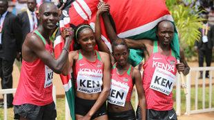 Kenia celebra el oro mundial en relevos.