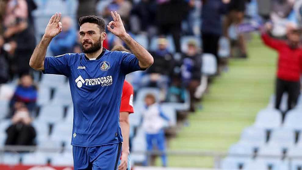 Jorge Molina celebra el gol que sentenciaba el triunfo del Getafe ante...