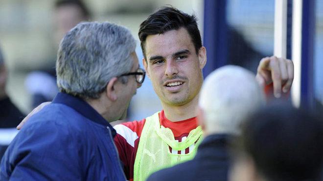 Dani García, en un entrenamiento del Eibar.