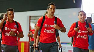 Alexis Sánchez, Claudio Bravo y Fabián Orellana.