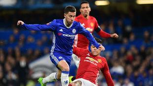 Hazard, en un partido ante el Manchester United.
