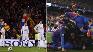 El sexto gol en el Camp Nou, a la izquierda, el PSG abatido, a la...