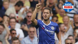 Hazard durante un partido con el Chelsea