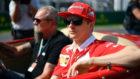 Raikkonen, en el desfile de los pilotos antes de la carrera de...