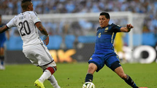 Enzo en un partido con la selección argentina.