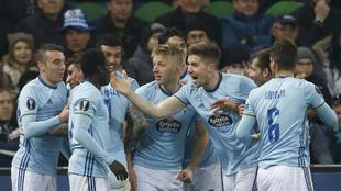 Los jugadores del Celta celebran un gol en la presente temporada.
