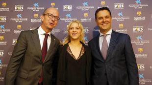 Cardoner, Shakira y Bertolín en la presentación de este martes.