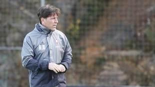Berizzo, durante un entrenamiento con el Celta.