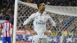 Cristiano celebrando un gol frente al Atlético